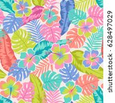 colorful hibiscus and tropical... | Shutterstock .eps vector #628497029