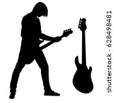 rock guitarist and bass guitar...   Shutterstock .eps vector #628498481
