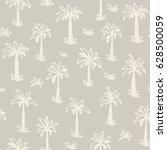 seamless tropical palm ... | Shutterstock .eps vector #628500059
