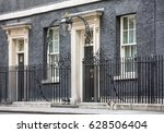 Small photo of LONDON, UK - Apr 19, 2017: The cat named Larry is the 10 Downing Street cat and is Chief Mouser to the Cabinet Office. Larry is a brown and white tabby.