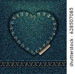 jeans heart petroleum blue  i... | Shutterstock . vector #628507085