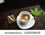 white coffee cup on wooden... | Shutterstock . vector #628508609