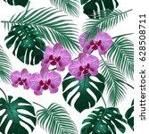 jungle. green tropical leaf ... | Shutterstock . vector #628508711