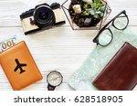 wanderlust and travel concept ... | Shutterstock . vector #628518905