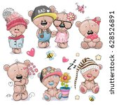 set of cute cartoon teddy bear... | Shutterstock .eps vector #628526891