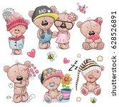 Set Of Cute Cartoon Teddy Bear...