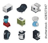 kitchen appliances isometric...   Shutterstock .eps vector #628527347