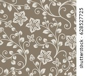 seamless brown and beige flower ... | Shutterstock .eps vector #628527725