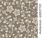 seamless brown and beige flower ... | Shutterstock .eps vector #628527725