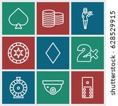casino icons set. set of 9... | Shutterstock .eps vector #628529915