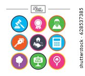 real estate  auction icons.... | Shutterstock .eps vector #628537385