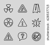 hazard icons set. set of 9... | Shutterstock .eps vector #628537715