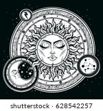 vintage hand drawn sun  moon ... | Shutterstock .eps vector #628542257