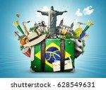 brazil  brazil landmarks ... | Shutterstock . vector #628549631