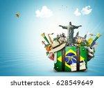 brazil  brazil landmarks ... | Shutterstock . vector #628549649