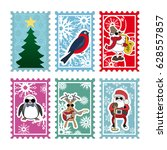 six multi colored stamps for... | Shutterstock . vector #628557857