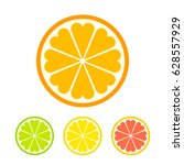 stylized orange slice icon with ... | Shutterstock .eps vector #628557929