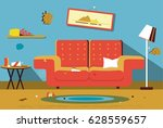 dirty messy room. | Shutterstock .eps vector #628559657