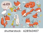 set with cute fox and farm birds | Shutterstock .eps vector #628563407
