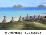 sandmen and sandwomen built at... | Shutterstock . vector #628565885