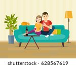 smiling romantic couple... | Shutterstock .eps vector #628567619