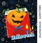 happy greeting halloween card... | Shutterstock .eps vector #62857084