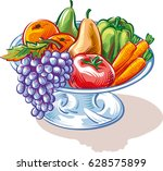 fruit bowl with fruit and... | Shutterstock .eps vector #628575899