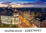 the skyline of madrid  spain ... | Shutterstock . vector #628579997