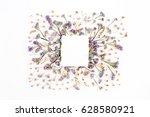 empty white paper blank on blue ...   Shutterstock . vector #628580921
