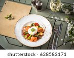 salmon dressing  asparagus and... | Shutterstock . vector #628583171
