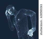 man in a thinker pose. 3d model ... | Shutterstock .eps vector #628583261