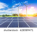 wind turbines and solar panels... | Shutterstock . vector #628589471