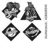color vintage fruit emblems | Shutterstock .eps vector #628608545