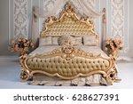 luxury bedroom in light colors... | Shutterstock . vector #628627391