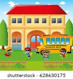 school scene with students and... | Shutterstock .eps vector #628630175