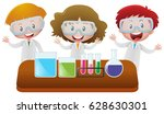 science kids doing an experiment | Shutterstock .eps vector #628630301
