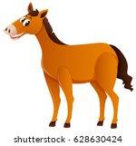 brown horse standing alone... | Shutterstock .eps vector #628630424