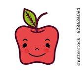 kawaii cute happy apple fruit | Shutterstock .eps vector #628636061