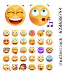 set of cute emoticons on white... | Shutterstock .eps vector #628638794