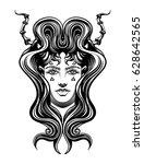 strange demon girl  with... | Shutterstock .eps vector #628642565