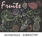 hand drawn graphic fruits.... | Shutterstock .eps vector #628642769