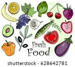 hand drawn fresh tasty fruits... | Shutterstock .eps vector #628642781