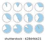 blue clock  fifty five minutes... | Shutterstock .eps vector #628646621