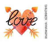 valentine's day postcard  card  ... | Shutterstock . vector #628647641