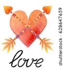 valentine's day postcard  card  ... | Shutterstock . vector #628647659