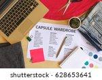 capsule wardrobe concept.... | Shutterstock . vector #628653641