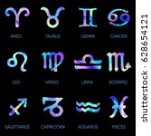 zodiac icons. horoscope set on... | Shutterstock .eps vector #628654121