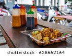 hawker food in fatahillah... | Shutterstock . vector #628662164