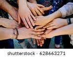 multi generation family hands... | Shutterstock . vector #628663271
