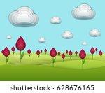 paper cut cartoon green field... | Shutterstock .eps vector #628676165